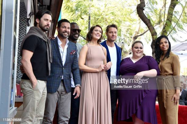 Milo Ventimiglia Jon Huertas Sterling K Brown Mandy Moore Justin Hartley Chrissy Metz and Susan Kelechi Watson attend the ceremony honoring Mandy...