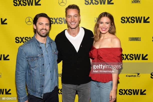 Milo Ventimiglia Justin Hartley and Mandy Moore attend the 'This is Us' Premiere 2018 SXSW Conference and Festivals at Paramount Theatre on March 12...