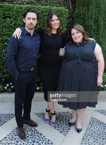 Milo Ventimiglia Mandy Moore and Chrissy Metz arrive at The Rape Foundation's Annual Brunch at a private residence on October 8 2017 in Los Angeles...