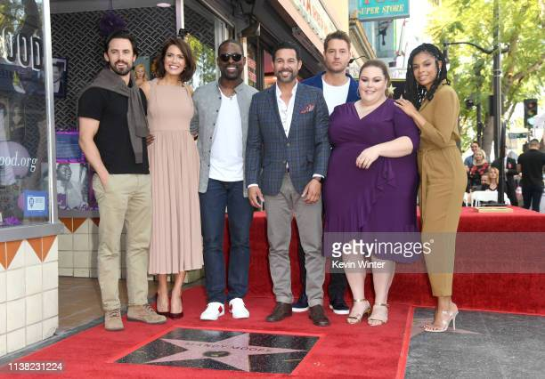 Milo Ventimiglia Mandy Moore Sterling K Brown Jon Huertas Justin Hartley Chrissy Metz and Susan Kelechi Watson attend a ceremony honoring Mandy Moore...