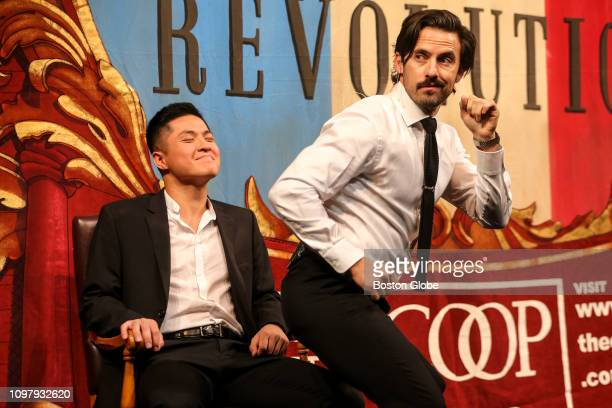 Milo Ventimiglia right gives Eric Cheng a lap dance during the Hasty Pudding Theatricals Man of the Year roast in Cambridge MA on Feb 8 2019