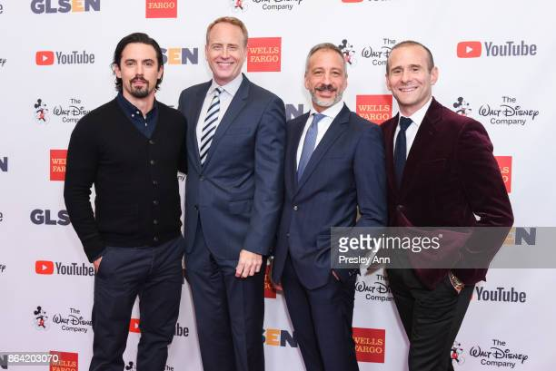 Milo Ventimiglia Robert Greenblatt David Kohan and Max Mutchnick attend 2017 GLSEN Respect Awards Arrivals at the Beverly Wilshire Four Seasons Hotel...