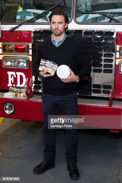 Milo Ventimiglia teams up with the NYFD and Duracell for fire safety on March 8 2018 in New York City
