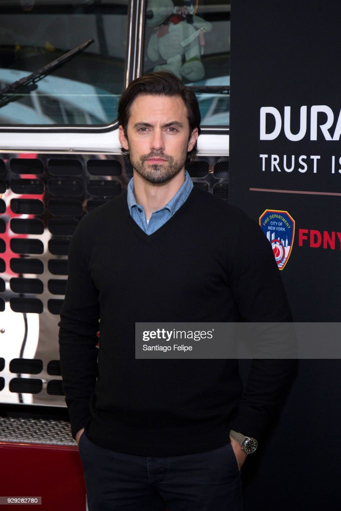 Milo Ventimiglia teams up with the NYFD and Duracell for fire safety on March 8, 2018 in New York City.