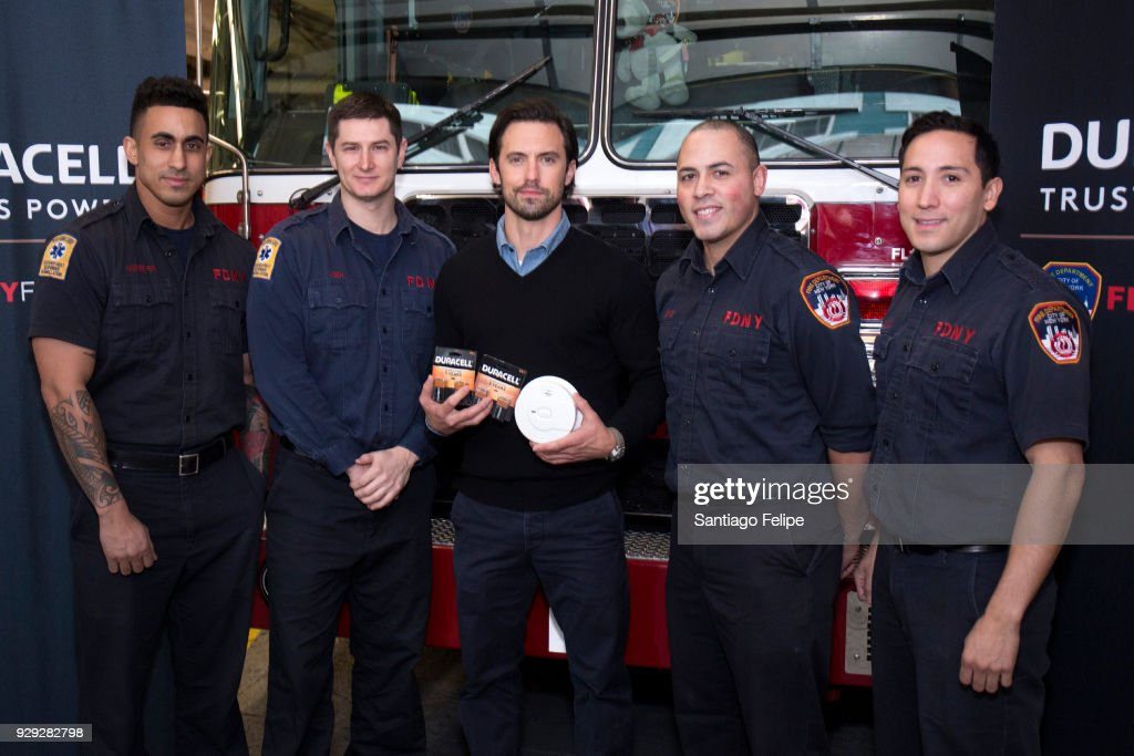 Milo Ventimiglia (C) teams up with the NYFD and Duracell for fire safety on March 8, 2018 in New York City.