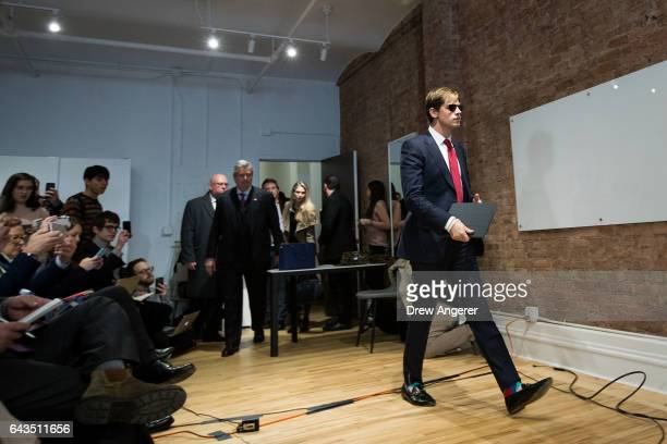 Milo Yiannopoulos arrives at a press conference February 21 2017 in New York City After comments he made regarding pedophilia surfaced in an online...