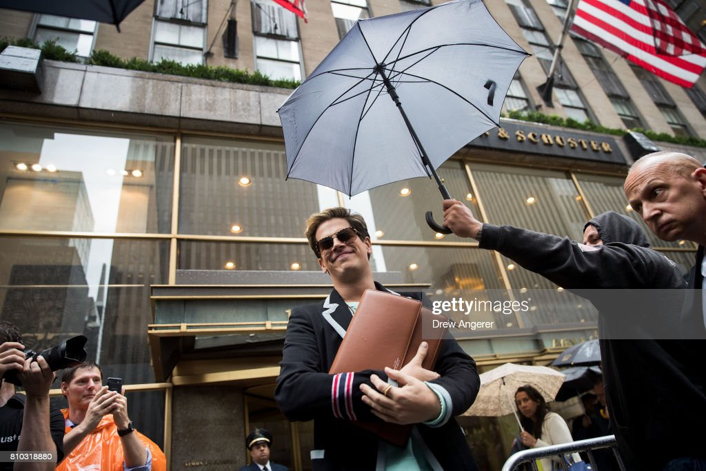 Milo Yiannopoulos arrives to speak outside of the offices of Simon & Schuster publishing company, July 7, 2017 in New York City. Yiannopoulos is promoting a new book and filing a $10 million legal complaint against Simon & Schuster following the publisher's decision to cancel his book deal.