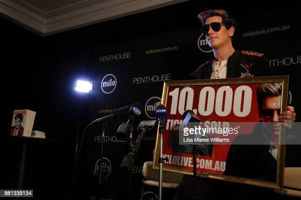 Milo Yiannopoulos attends a press conference on November 29 2017 in Sydney Australia Yiannopoulos is in Australia for his Troll Academy Tour