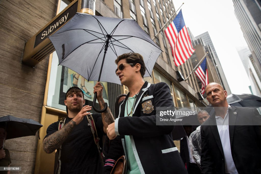 Milo Yiannopoulos exits after speaking outside the offices of Simon & Schuster publishing company, July 7, 2017 in New York City. Yiannopoulos is promoting a new book and filing a $10 million legal complaint against Simon & Schuster following the publisher's decision to cancel his book deal.