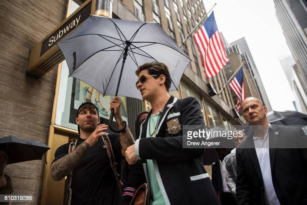 Milo Yiannopoulos exits after speaking outside the offices of Simon Schuster publishing company July 7 2017 in New York City Yiannopoulos is...