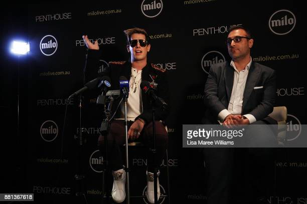 Milo Yiannopoulos speaks alongside Penthouse Australia/NZ publisher Damien Costas during a press conference on November 29 2017 in Sydney Australia...