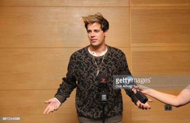 Milo Yiannopoulos speaks during a press conference on November 29 2017 in Sydney Australia Yiannopoulos is in Australia for his Troll Academy Tour