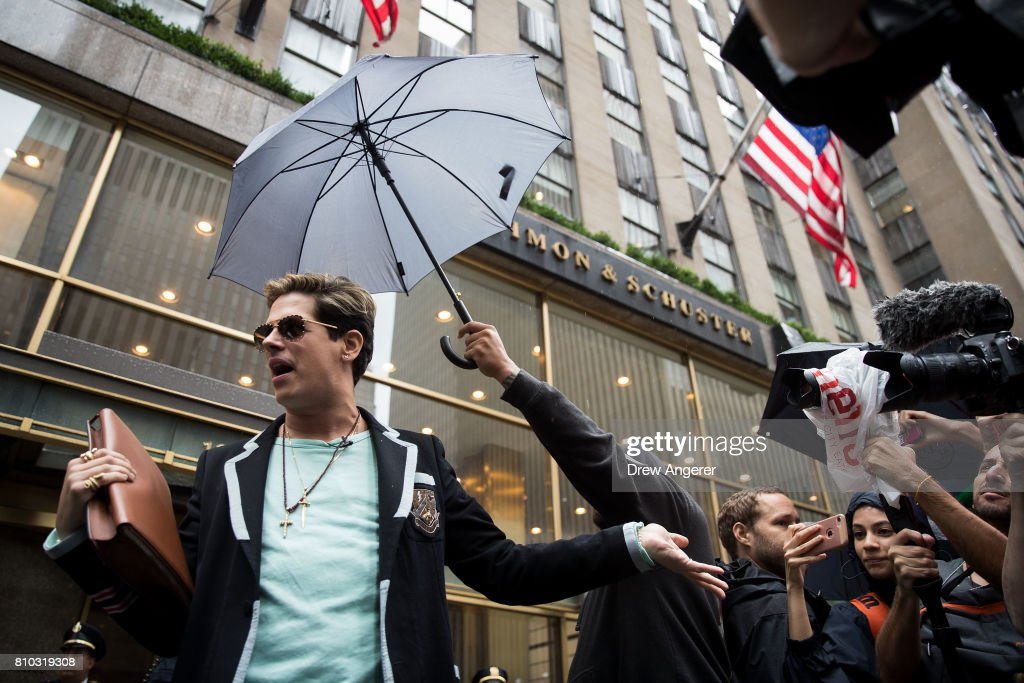 Milo Yiannopoulos speaks outside the offices of Simon & Schuster publishing company, July 7, 2017 in New York City. Yiannopoulos is promoting a new book and filing a $10 million legal complaint against Simon & Schuster following the publisher's decision to cancel his book deal.