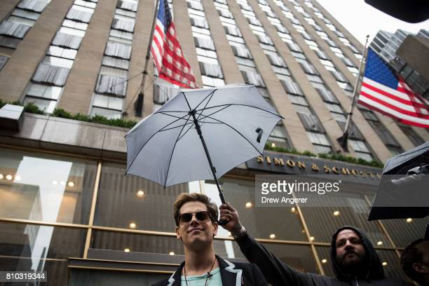 Milo Yiannopoulos speaks outside the offices of Simon Schuster publishing company July 7 2017 in New York City Yiannopoulos is promoting a new book...