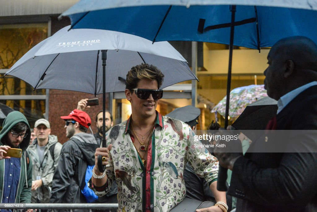 Milo Yiannopoulos waits to speak at an Alt Right protest of Muslim activist Linda Sarsour on April 25, 2017 in New York City.