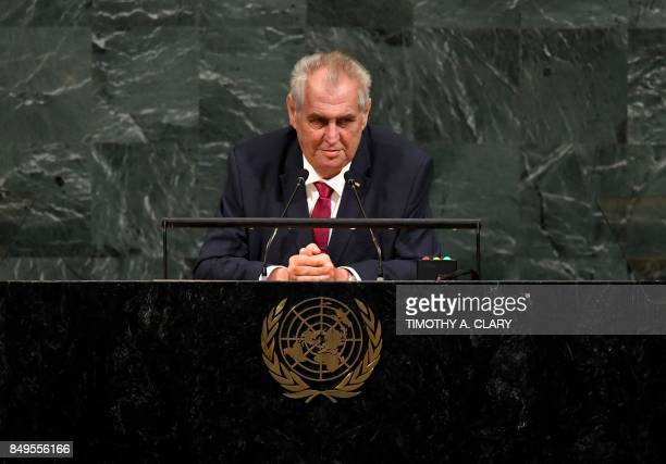 Milo Zeman, President of the Czech Republic, addresses the 72nd session of the General Assembly at the United Nations in New York September 19, 2017....