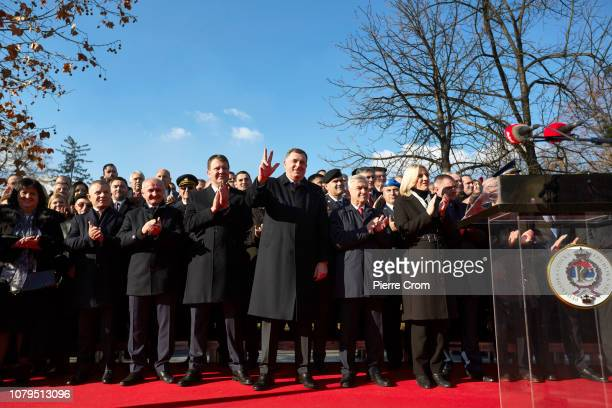 Milorad Dodik current chairman and Serb member of the tripartite Presidency of Bosnia and Herzegovina is seen making the Serbian three finger salute...