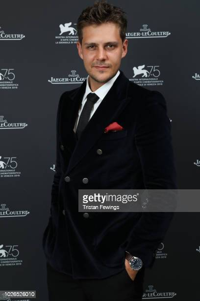 Milos Bikovic wears a JaegerLeCoultre watch in the JaegerLeCoultre Lounge at the 75th Venice Film Festival at Hotel Excelsior on September 3 2018 in...