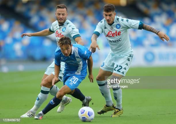 Milos Bocic of SC Pescara, Amir Rrahmani of Napoli and Giovanni Di Lorenzo of Napoli battle for the ball during the Pre-Season Friendly match between...