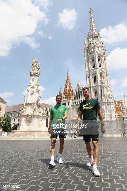 Milos Degenek and Tomi Juric of Australia are seen as they take a walk on the streets of Budapest on June 8 2018 in Budapest Hungary