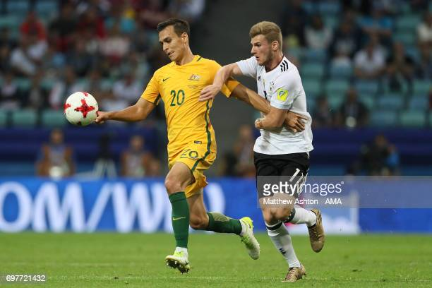 Milos Degenek of Australia competes with Timo Werner of Germany during the FIFA Confederations Cup Russia 2017 Group B match between Australia and...