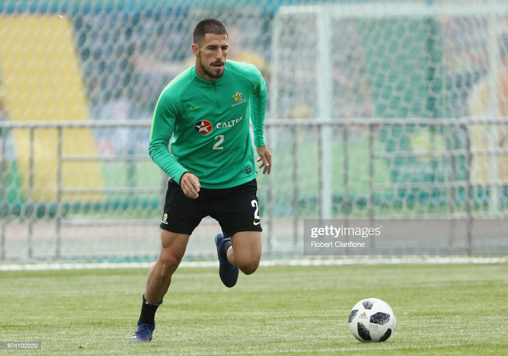 Milos Degenek of Australia controls the ball during an Australia Socceroos training session ahead of the FIFA World Cup 2018 at Stadium Trudovye Rezervy on June 14, 2018 in Kazan, Russia.