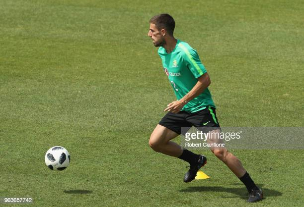 Milos Degenek of Australia controls the ball during an Australian Socceroos training session at the Gloria Football Club on May 30 2018 in Antalya...