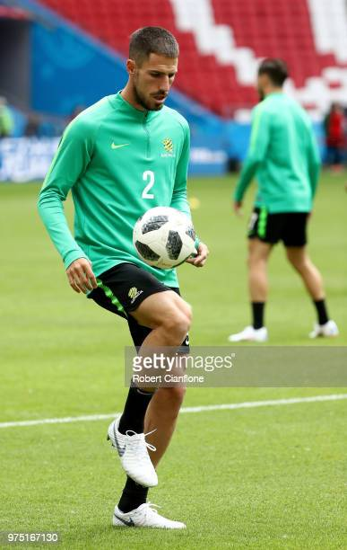 Milos Degenek of Australia during a Australia Socceroos training session at Kazan Arena on June 15 2018 in Kazan Russia