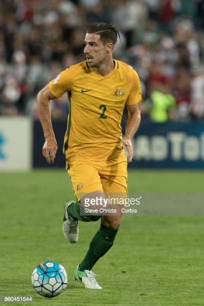 Milos Degenek of Australia in action during the 2018 FIFA World Cup Asian Playoff match between the Australian Socceroos and Syria at ANZ Stadium on...