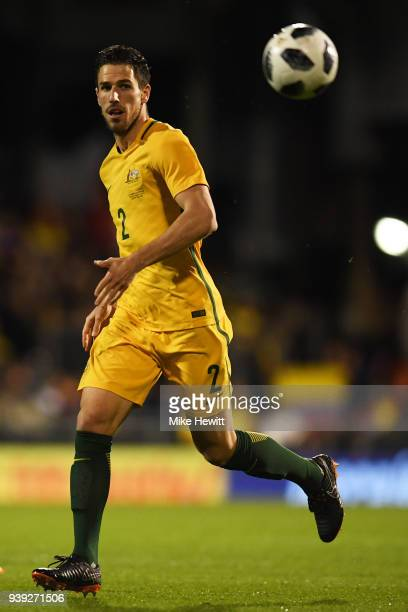 Milos Degenek of Australia in action during the International Friendly between Australia and Colombia at Craven Cottage on March 27 2018 in London...