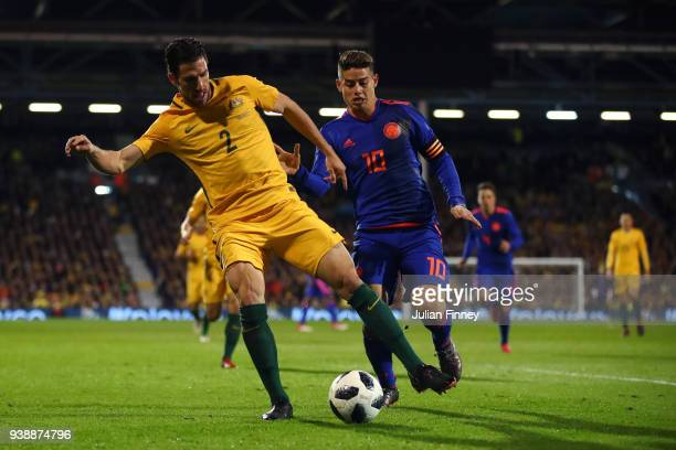 Milos Degenek of Australia is challenged by James Rodriguez of Colombia during the International friendly between Australia and Colombia at Craven...