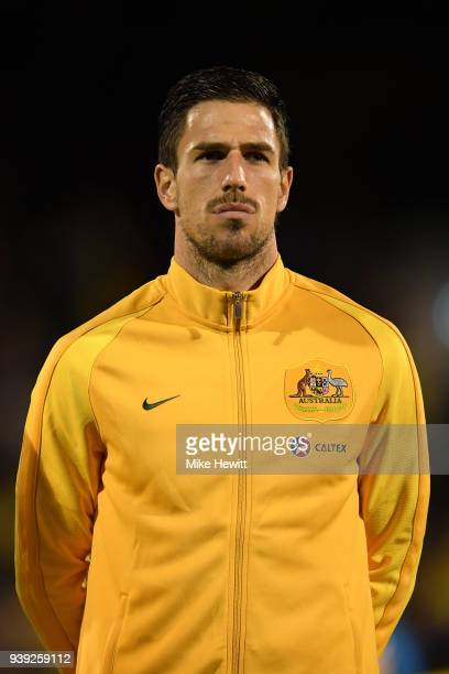 Milos Degenek of Australia looks on ahead of the International Friendly between Australia and Colombia at Craven Cottage on March 27 2018 in London...