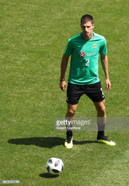Milos Degenek of Australia looks on during an Australian Socceroos media opportunity at Stadium Trudovye Rezervy on June 24 2018 in Kazan Russia