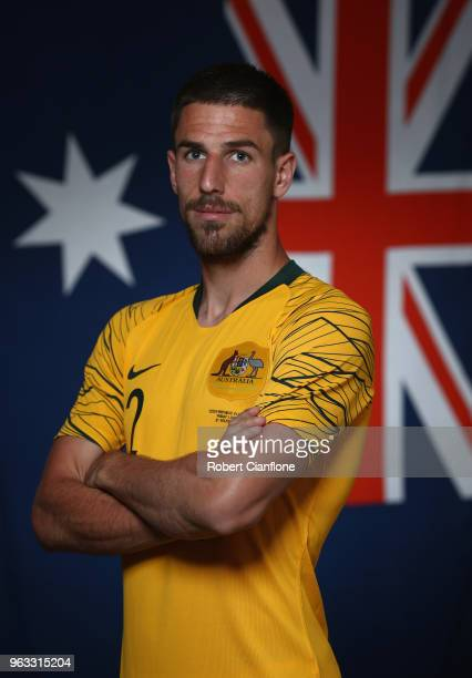 Milos Degenek of Australia poses during the Australian Socceroos Portrait Session at the Gloria Football Club on May 28 2018 in Antalya Turkey
