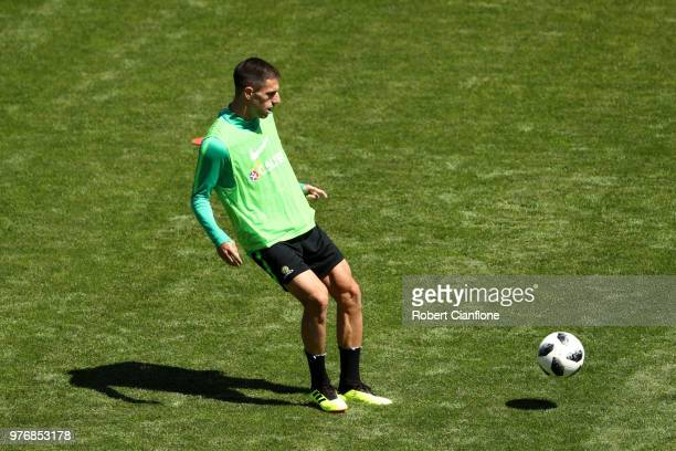 Milos Degenek of Australia trains during an Australia Socceroos training session at Stadium Trudovye Rezervy on June 17 2018 in Kazan Russia