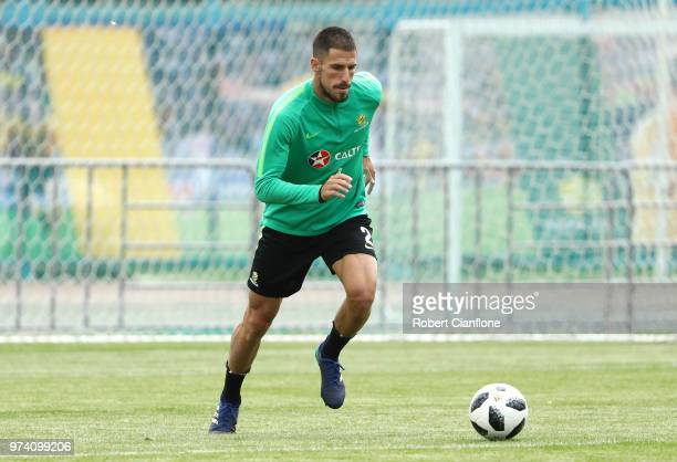 Milos Degenek of Australia trains during an Australia Socceroos media opportunity ahead of the 2018 FIFA World Cup at Stadium Trudovye Rezervy on...