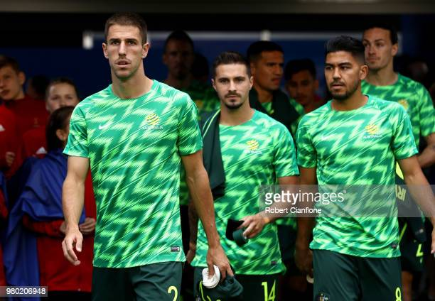 Milos Degenek of Australia walks out prior to the 2018 FIFA World Cup Russia group C match between Denmark and Australia at Samara Arena on June 21...