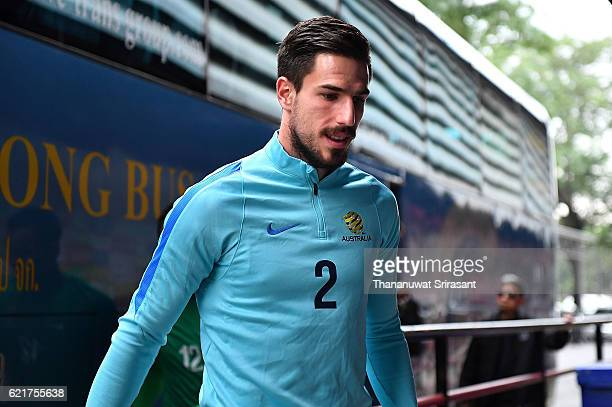 Milos Degenek smiles during an Australia Socceroos training session at SCG Stadium on November 8 2016 in Bangkok Thailand