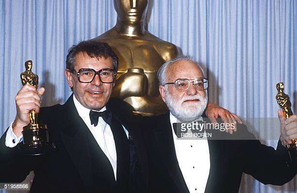 Milos Forman Czechoslovakianborn US filmmaker and Saul Zaentz respectively director and producer of 'Amadeus' a movie based on the life of Wolfgang...