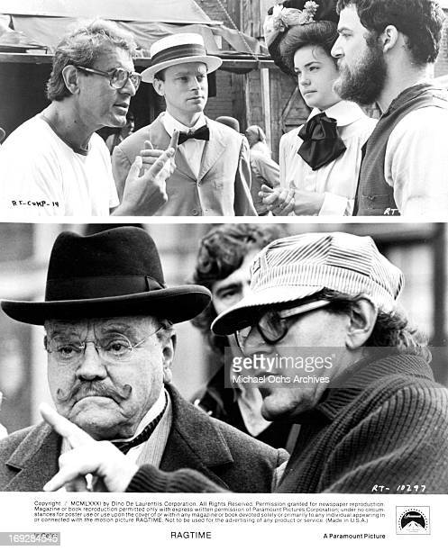 Milos Forman directs Brad Dourif Elizabeth McGovern Mandy Patinkin and James Cagney in various scenes from the film 'Ragtime' 1981 Photo by...
