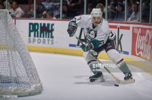 Milos Holan, Defenseman for the Mighty Ducks of Anaheim in motion on the ice during the NHL Western Conference, Pacific Division game against the...