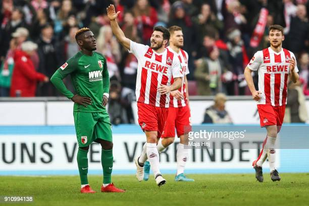 Milos Jojic of 1FC Koeln celebrates after scoring his teams first goal to make it 10 during the Bundesliga match between 1 FC Koeln and FC Augsburg...