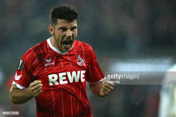 Milos Jojic of FC Koeln celebrates after scoring his sides fith goal during the UEFA Europa League group H match between 1 FC Koeln and BATE Borisov...