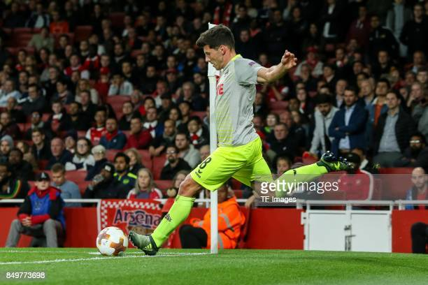 Milos Jojic of FC Koeln controls the ball during the UEFA Europa League group H match between Arsenal FC and 1 FC Koeln at Emirates Stadium on...