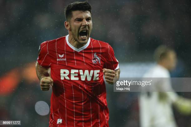 Milos Jojic of Koeln celebrates after scoring a goal to make it 52 during the UEFA Europa League group H match between 1 FC Koeln and BATE Borisov at...