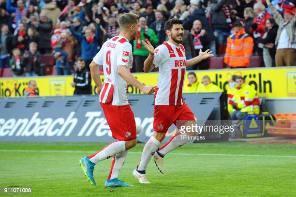 Milos Jojic of Koeln celebrates after scoring his team`s first goal during the Bundesliga match between 1 FC Koeln and FC Augsburg at...