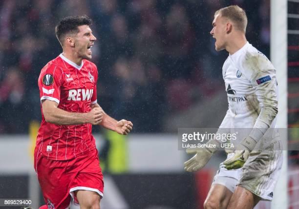 Milos Jojic of Koeln celebrates his teams fifth goal during the UEFA Europa League group H match between 1 FC Koeln and BATE Borisov at...