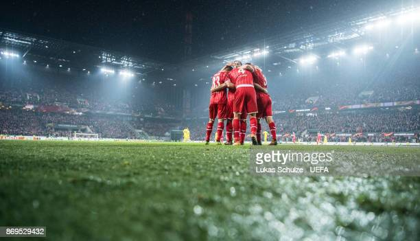 Milos Jojic of Koeln celebrates his teams fifth goal with team mates during the UEFA Europa League group H match between 1 FC Koeln and BATE Borisov...