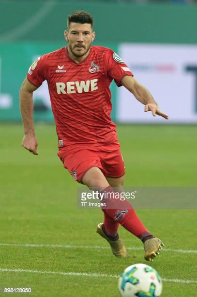 Milos Jojic of Koeln controls the ball during the Bundesliga match between FC Schalke 04 and 1 FC Koeln at VeltinsArena on December 19 2017 in...