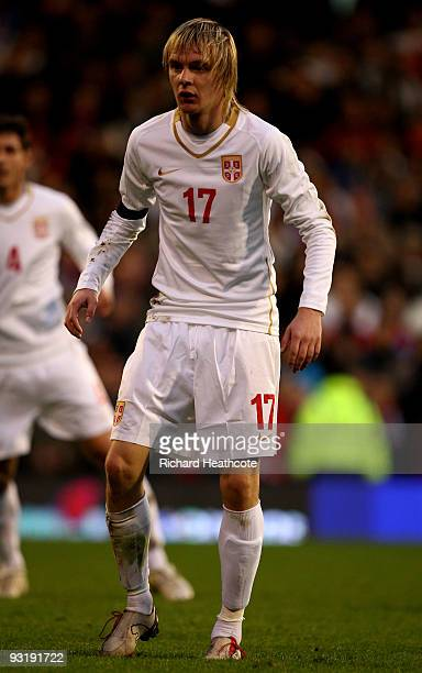 Milos Krasic of Serbia during the International Friendly match between South Korea and Serbia at Craven Cottage on November 18 2009 in London England